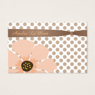 Pretty, Peach and Brown Polka Dots with Flower Business Card