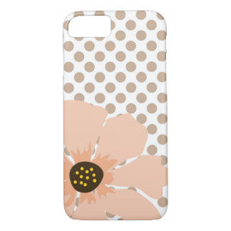 Pretty, Peach and Brown Polka Dots with Flower iPhone 8/7 Case