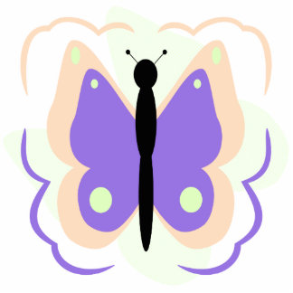 Pretty Peach And Purple Butterfly Ornament Photo Cutout