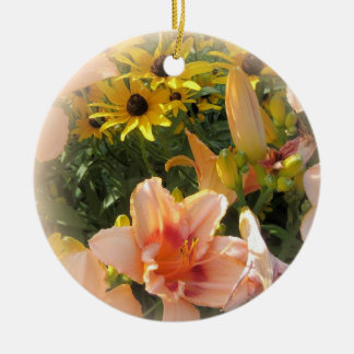 Pretty Peach Day Lilies and Emerson Quote Christmas Ornament