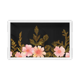 Pretty Peach Flowers and Gold Leaf Serving Tray