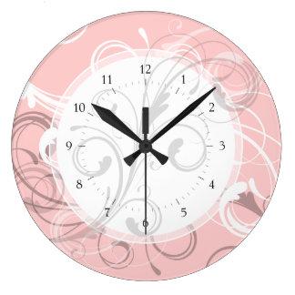 Pretty Peach Pink Retro Swirls Custom Color Clocks