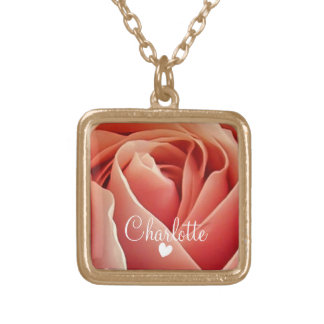 Pretty Peach Pink Rose Love Heart Personalized Gold Plated Necklace