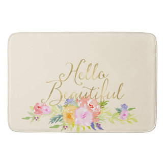 Pretty Peach Pink Watercolor Floral Bath Mat