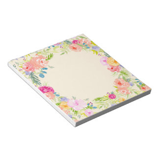 Pretty Peach Pink Watercolor Floral Notepad
