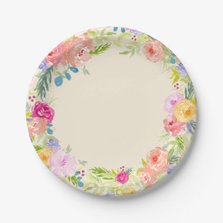 Pretty Peach Pink Watercolor Floral Paper Plate