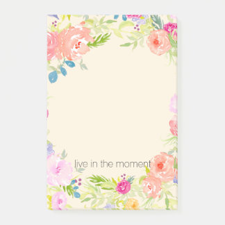 Pretty Peach Pink Watercolor Floral Post-it Notes
