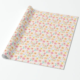 Pretty Peach Pink Yellow Watercolor Floral Wrapping Paper
