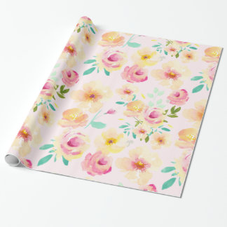 Pretty Peach Pink Yellow Watercolor Flowers Wrapping Paper