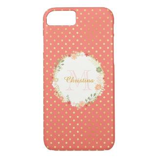 Pretty Peach Polka Dot Floral Name and Monogram iPhone 8/7 Case