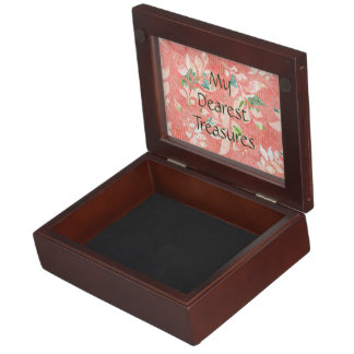 Pretty Peach Watercolor Floral Print Personalized Keepsake Box