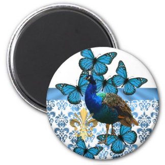 Pretty Peacock and blue butterflies 6 Cm Round Magnet
