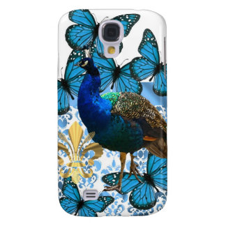 Pretty Peacock and blue butterflies Galaxy S4 Case