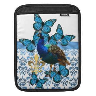 Pretty Peacock and blue butterflies iPad Sleeve