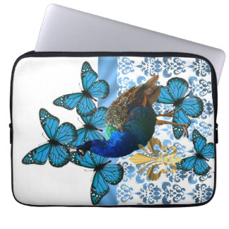 Pretty Peacock and blue butterflies Laptop Sleeve