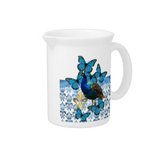 Pretty Peacock and blue butterflies Pitcher