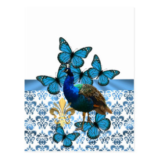 Pretty Peacock and blue butterflies Postcard