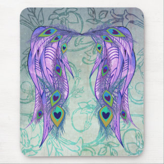 Pretty Peacock Feather Angel Wings Vine Mouse Pad