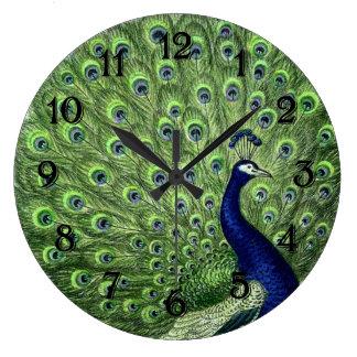 Pretty Peacock Large Clock