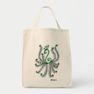 Pretty Peacock Grocery Tote Bag