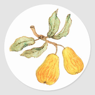 Pretty Pear Pair Round Sticker