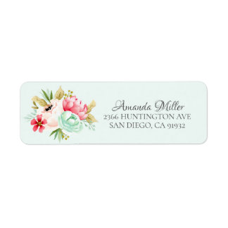Pretty Peonies Baby Shower Floral Return address