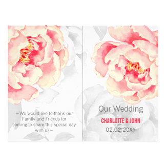 Pretty Peonies Modern Floral wedding program 21.5 Cm X 28 Cm Flyer