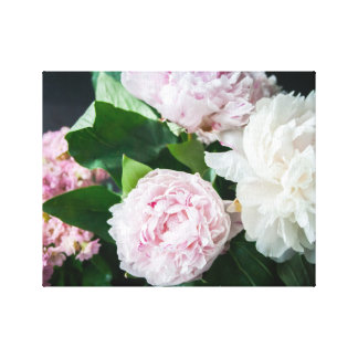 Pretty Peonies Pastel Bouquet Gallery Wrap Canvas