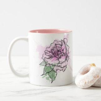 Pretty Peonies Two-Tone Coffee Mug