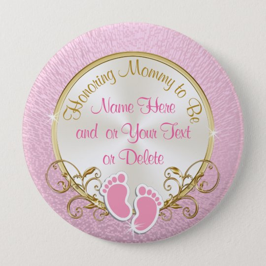 Pretty Personalised Pink and Gold Mummy to Be Pin
