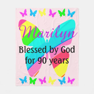PRETTY PERSONALIZED 90TH BIRTHDAY CUSTOM BLANKET