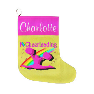 PRETTY PERSONALIZED CHEERLEADER CHRISTMAS STOCKING