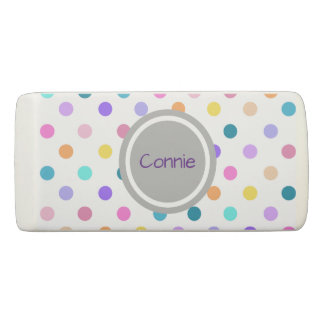 Pretty personalized confetti polka dots eraser