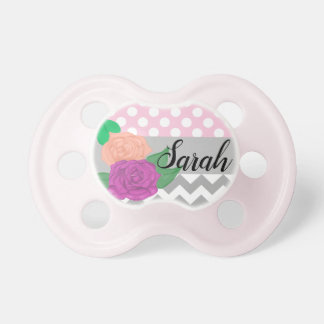 Pretty Personalized Floral Baby Pacifier