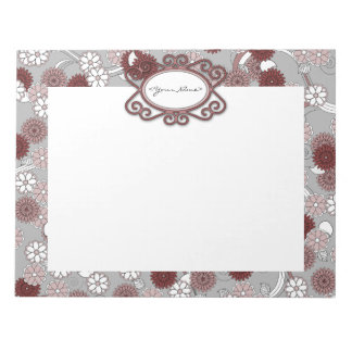Pretty Personalized Floral Pattern in Muted Pinks Notepad