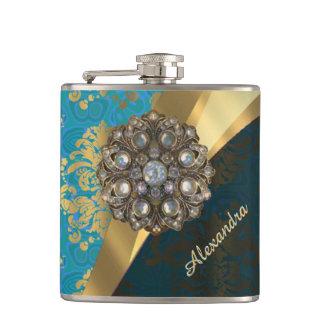 Pretty personalized girly aqua damask pattern hip flask