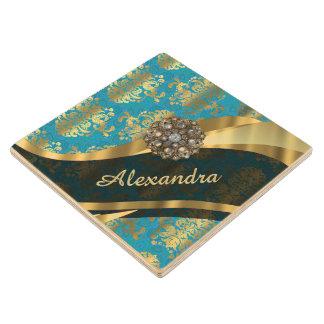 Pretty personalized girly aqua damask pattern wood coaster