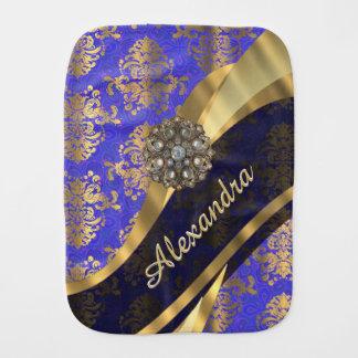 Pretty personalized girly blue damask pattern burp cloth