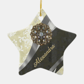 Pretty personalized girly cream damask pattern ceramic star decoration