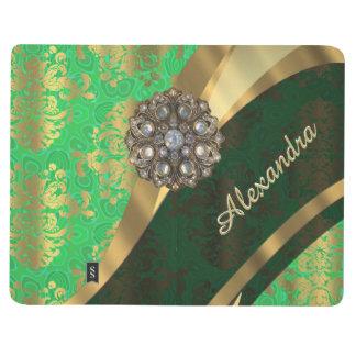 Pretty personalized girly green damask pattern journal