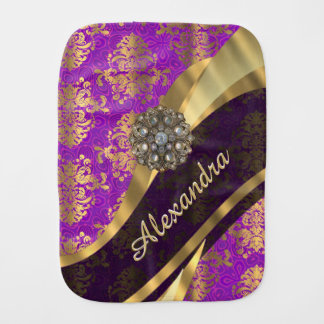 Pretty personalized girly purple damask patten burp cloth