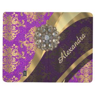 Pretty personalized girly purple damask patten journal