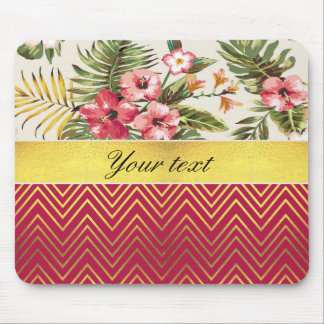 Pretty Personalized Hibiscus and Chevrons Mouse Pad