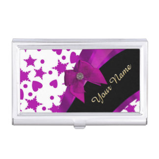 Pretty personalized magenta girly patterned business card holder