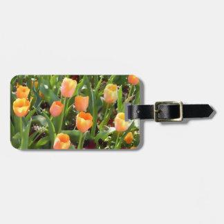 Pretty Personalized Orange Tulip Field Luggage Tag