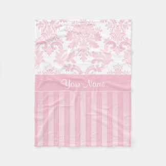 Pretty Personalized Pink Damask and Stripes Fleece Blanket
