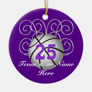 Pretty Personalized Purple Basketball Ornaments