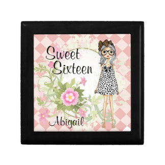 Pretty Personalized Sweet 16 Cool Girl and Flowers Small Square Gift Box