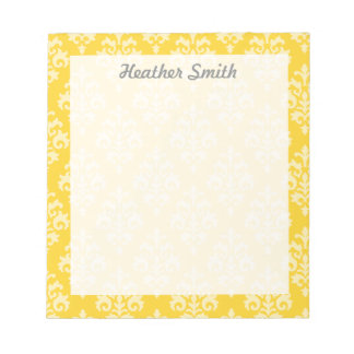 Pretty Personalized Yellow Damask Notepad