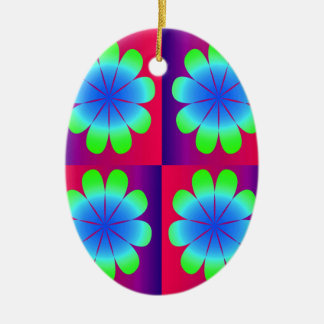 Pretty Petals Double-Sided Oval Ceramic Christmas Ornament